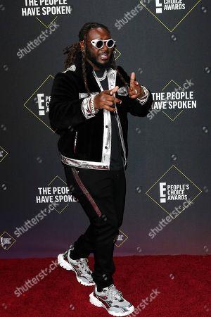 T-Pain, whose birth name is Faheem Rasheed Najm, arrives for the 2019 People's Choice Awards at the Barker Hangar in Santa Monica, California, USA, 10 November 2019.