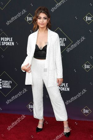 Andrea Russett arrives for the 2019 People's Choice Awards at the Barker Hangar in Santa Monica, California, USA, 10 November 2019.