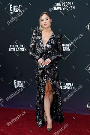 Stock Image of Alisha Marie arrives for the 2019 People's Choice Awards at the Barker Hangar in Santa Monica, California, USA, 10 November 2019.