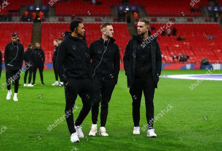 Trent Alexander Arnold, James Maddison and Jordan Henderson of England before kick off
