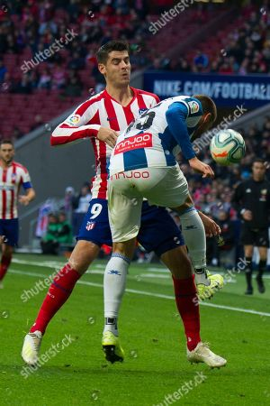 Atletico de Madrid's Spanish forward Alvaro Morata ; Espanyol's Spanish midfielder David Lopez