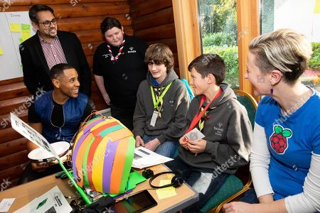 Atif Ahmed (Plusnet), Reggie Yates, Sam Murphy (Scouts), Olympia Brown (Rasberry Pi) discuss ideas at the Plusnet and Scouts: Preparing for the Future digital camp