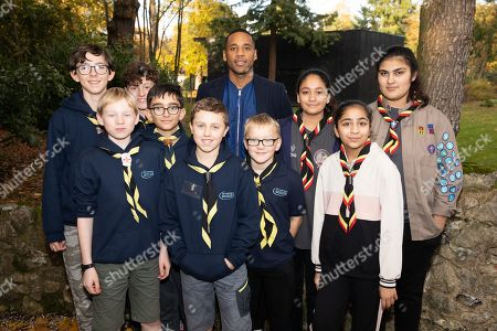 Stock Image of Reggie Yates and Scouts at the Plusnet and Scouts: Preparing for the Future digital camp