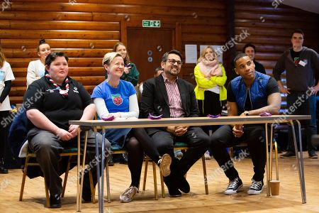 Sam Murphy (Scouts), Olympia Brown (Rasberry Pi), Atif Ahmed(Plusnet), Reggie Yates listen as Scouts present their ideas at the Plusnet and Scouts: Preparing for the Future digital camp