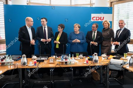 (L-R) Christian Democratic Union (CDU) and Christian Social Union (CSU) faction chairman in the German parliament Bundestag Ralph Brinkhaus, the CDU?s Secretary General Paul Ziemiak, Minister of Defence and the leader of the CDU Annegret Kramp- Karrenbauer, German Chancellor Angela Merkel, Premier of North Rhine-Westphalia Armin Laschet, Minister of Food and Agriculture Julia Kloeckner and Thomas Strobl talk during a board meeting of the CDU at the CDU's headquarters Konrad-Adenauer-Haus in Berlin, Germany, 11 November 2019. After months of debate, the governing coalition of CDU, CSU and SPD has settled its dispute over the basic pension.