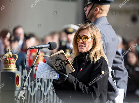 Singer and musician Cerys Matthews reads a poem at a service is held at The Cenotaph in central London
