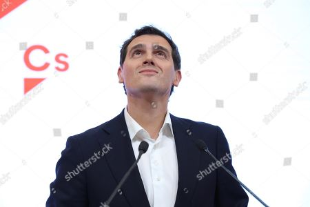 Leader of Spanish Ciudadanos party, Albert Rivera announces his resignation as the party's president and member of parliament (MP) during a press conference in Madrid, Spain, 11 November 2019. Rivera announces his resignation a day after the general elections in which Ciudadanos lost a total of 47 seats in Parliament. Albert Rivera also announced he will also be retiring from politics.
