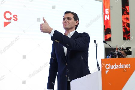 Editorial image of Albert Rivera resigns after electoral bump for Ciudadanos, Madrid, Spain - 11 Nov 2019