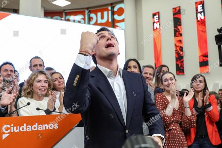 Leader of Spanish Ciudadanos party, Albert Rivera reacts after announcing his resignation as the party's president and member of parliament (MP) during a press conference in Madrid, Spain, 11 November 2019. Rivera announces his resignation a day after the general elections in which Ciudadanos lost a total of 47 seats in Parliament. Albert Rivera also announced he will also be retiring from politics.