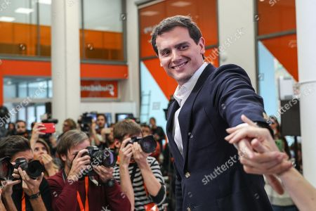 Stock Photo of Leader of Spanish Ciudadanos party, Albert Rivera reacts after announcing his resignation as the party's president and member of parliament (MP) during a press conference in Madrid, Spain, 11 November 2019. Rivera announces his resignation a day after the general elections in which Ciudadanos lost a total of 47 seats in Parliament. Albert Rivera also announced he will also be retiring from politics.