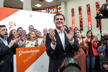 Stock Image of Leader of Spanish Ciudadanos party, Albert Rivera reacts after announcing his resignation as the party's president and member of parliament (MP) during a press conference in Madrid, Spain, 11 November 2019. Rivera announces his resignation a day after the general elections in which Ciudadanos lost a total of 47 seats in Parliament. Albert Rivera also announced he will also be retiring from politics.
