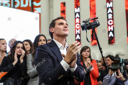 Stock Picture of Leader of Spanish Ciudadanos party, Albert Rivera reacts after announcing his resignation as the party's president and member of parliament (MP) during a press conference in Madrid, Spain, 11 November 2019. Rivera announces his resignation a day after the general elections in which Ciudadanos lost a total of 47 seats in Parliament. Albert Rivera also announced he will also be retiring from politics.