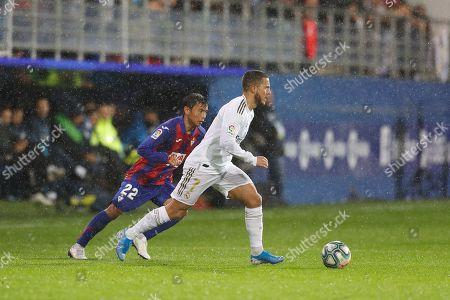 Takashi Inui of Eibar, Eden Hazard of Real Madrid