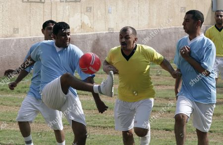 Egyptian inmates play soccer inside Tora prison in Cairo, Egypt, 11 November 2019.  According to reports, a delegation comprising members of Human Rights commission, parliamentarians and journalists visited Tora Prison ahead of the Universal Periodic Review (UPR) of Egypt before the UN Human Rights Council scheduled for 13 November and after a UN report on 08 November claimed 'inadequate prison conditions' may have led to the death of ousted president Mohamed Morsi.