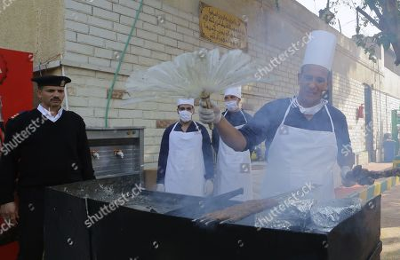 Egyptian inmates cook inside Tora prison during Human Rights commission visit in Cairo, Egypt, 11 November 2019. According to reports, a delegation comprising members of Human Rights commission, parliamentarians and journalists visited Tora Prison ahead of the Universal Periodic Review (UPR) of Egypt before the UN Human Rights Council scheduled for 13 November and after a UN report on 08 November claimed 'inadequate prison conditions' may have led to the death of ousted president Mohamed Morsi.