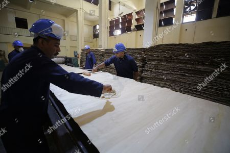 Egyptian inmates work at furniture workshop inside Tora prison during Human Rights commission visit in Cairo, Egypt, 11 November 2019. According to reports, a delegation comprising members of Human Rights commission, parliamentarians and journalists visited Tora Prison ahead of the Universal Periodic Review (UPR) of Egypt before the UN Human Rights Council scheduled for 13 November and after a UN report on 08 November claimed 'inadequate prison conditions' may have led to the death of ousted president Mohamed Morsi.