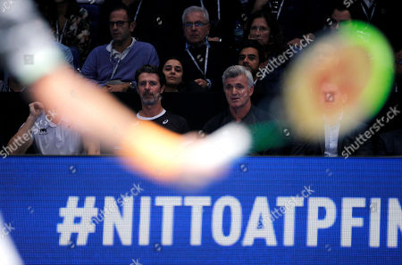 Patrick Mourataglou, coach of Stefanos Tsitsipas of Greece, watches him in action