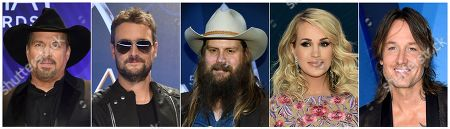 This combination of photos shows, from left, Garth Brooks, Eric Church, Chris Stapleton, Carrie Underwood and Keith Urban, who are up for Entertainer of the Year at the Country Music Association Awards on Wednesday