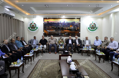 Palestinian Hamas chief in the Gaza strip Ismail Haniyeh meets the leaders of different Palestinian factions