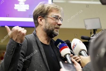Stock Image of Jurgen Klopp, coach of the FC Liverpool, speaks to the media after the 2019 UEFA Elite Club Coaches Forum, at the UEFA headquarters in Nyon, Switzerland, 11 November 2019.