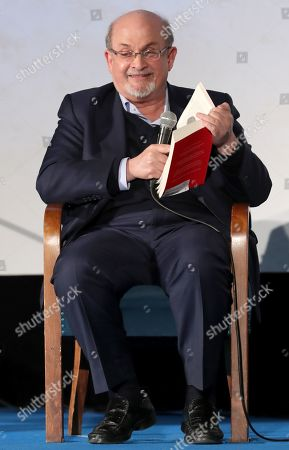 British-Indian author Salman Rushdie attends a book reading event for his new novel, titled 'Quichotte', in Berlin, Germany, 11 November 2019. The book was shortlisted for the 2019 Booker Prize.