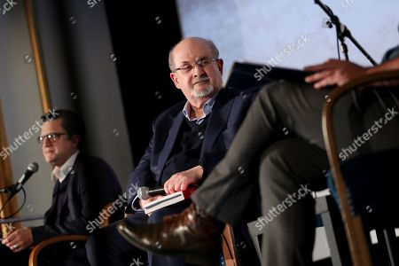 British-Indian author Salman Rushdie (C) attends a book reading event for his new novel, titled 'Quichotte', in Berlin, Germany, 11 November 2019. The book was shortlisted for the 2019 Booker Prize.