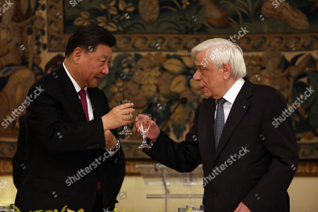 Greek President Prokopis Pavlopoulos (R) with Chinese President Xi Jinping (L) at the Official Dinner at the Presidential Palace in Athens, Greece, 11 November 2019. The Chinese President is paying a two-day official visit to Greece.