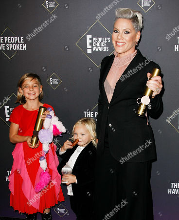 Pink with daughter Willow Sage Hart and son Jameson Moon Hart