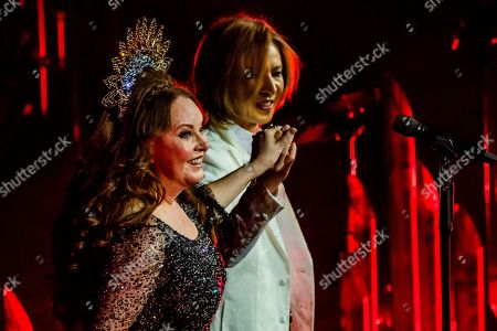 Stock Picture of Sarah Brightman and pianist Yoshiki