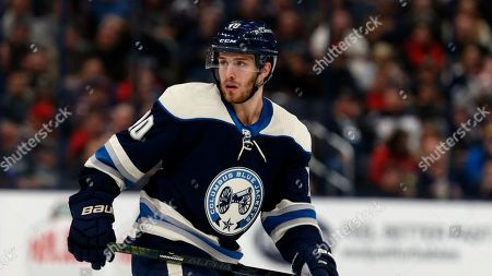 Columbus Blue Jackets forward Alexander Wennberg, of Sweden, is seen against the Vegas Golden Knights during an NHL hockey game in Columbus, Ohio, . The Golden Knights won 2-1