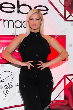 Bebe Rexha, the new face of Bebe, poses during an appearance at Macy's Herald Square, in New York