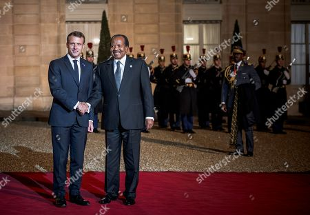 President of Cameroon, Paul Biya, meets French President, Emmanuel Macron, as Heads of State and Government, as well as the leaders of international organizations, participate in the 2nd Forum on Peace at the Elysee Palace.