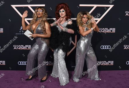 """Peppermint, Nina West, Farrah Moan. Peppermint, from left, Nina West and Farrah Moan arrive at the Los Angeles premiere of """"Charlie's Angels"""" at the Regency Theater Westwood on"""