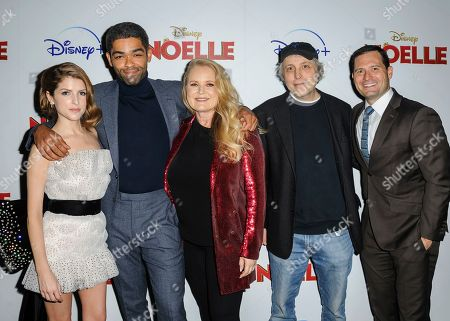 "Anna Kendrick, from left, Kinglsey Ben-Adir, Suzanne Todd, Marc Lawrence, and guest attend a special screening of ""Noelle"", hosted by Disney+ with The Cinema Society, at the SVA Theatre, in New York"