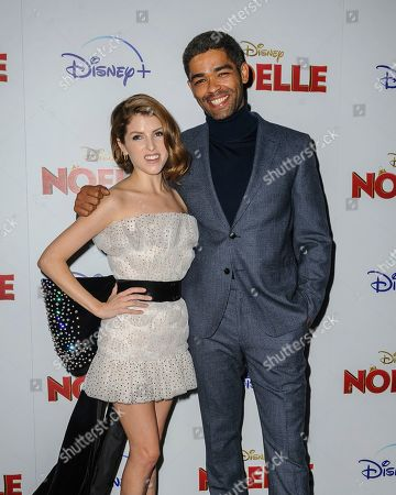 "Stock Picture of Anna Kendrick, left, and Kingsley Ben-Adir attend a special screening of ""Noelle"", hosted by Disney+ with The Cinema Society, at the SVA Theatre, in New York"