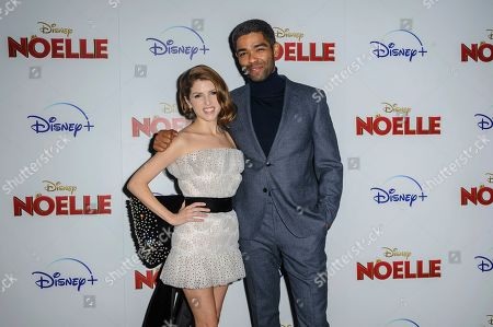 "Anna Kendrick, left, and Kingsley Ben-Adir attend a special screening of ""Noelle"", hosted by Disney+ with The Cinema Society, at the SVA Theatre, in New York"