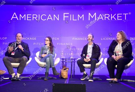Stock Picture of Josh Braun, Co-President, Submarine Entertainment, Alexandra Johnes, Producer, Very Special Projects, Evan Saxon, Head of West Coast Acquisitions and Business Development, Abramorama and Melanie Miller, Co-Founder/Producer, Fishbowl Films