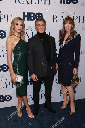 "Sistine Stallone, Sylvester Stallone, Jennifer Flavin. Sistine Stallone, Sylvester Stallone and Jennifer Flavin attend the HBO premiere of ""Very Ralph,"" at the Paley Center for Media, in Beverly Hills, Calif"