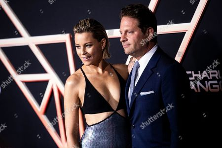 Elizabeth Banks (L) and her husband Max Handelman (R) pose on the red carpet during the premiere of 'Charlie's Angels' at the Westwood Regency Theater in Los Angeles, California, USA, 11 November 2019. The movie is to be released in US theaters on 15 November.