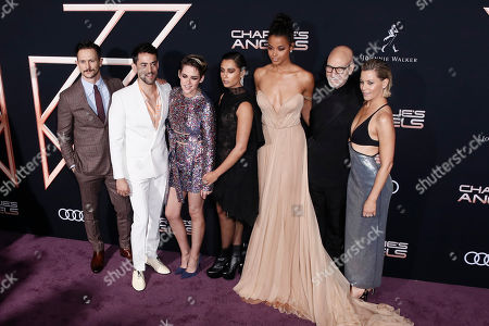 Jonathan Tucker, Mexican actor Luis Gerardo Mendez, US actress Kristen Stewart, British actress Naomi Scott, British actress Ella Balinska, British actor Patrick Stewart and US actress Elizabeth Banks pose on the red carpet during the premiere of 'Charlie's Angels' at the Westwood Regency Theater in Los Angeles, California, USA, 11 November 2019. The movie is to be released in US theaters on 15 November.