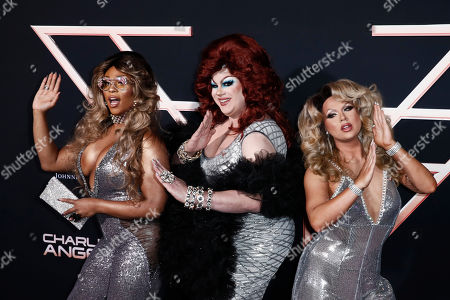 Drag Queens Peppermint, Nina West and Farrah Moan pose on the red carpet during the premiere of 'Charlie's Angels' at the Westwood Regency Theater in Los Angeles, California, USA, 11 November 2019. The movie is to be released in US theaters on 15 November.