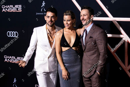 Luis Gerardo Mendez, US actresses Elizabeth Banks and US actor Jonathan Tucker pose on the red carpet during the premiere of 'Charlie's Angels' at the Westwood Regency Theater in Los Angeles, California, USA, 11 November 2019. The movie is to be released in US theaters on 15 November.