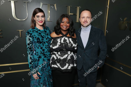 Lizzy Caplan, Octavia Spencer, Executive Producer, and Aaron Paul at the Apple TV+ global premiere of the original series 'Truth Be Told' at the Samuel Goldwyn Theater on November 21, 2019 in Los Angeles, California. 'Truth Be Told' debuts December 6 exclusively on Apple TV+.