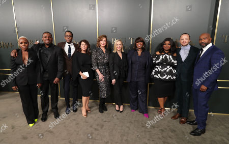 Haneefah Wood, Mekhi Phifer, Ron Cephas Jones, Annabella Sciorra, Elizabeth Perkins, Reese Witherspoon, Executive Producer, Nichelle Tramble Spellman, Showrunner/Writer/Executive Producer, Octavia Spencer, Executive producer, Aaron Paul and Michael Beach at the Apple TV+ global premiere of the original series 'Truth Be Told' at the Samuel Goldwyn Theater on November 21, 2019 in Los Angeles, California. 'Truth Be Told' debuts December 6 exclusively on Apple TV+.