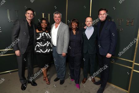 Stock Picture of Jamie Erlicht, Head of Worldwide Video for Apple, Octavia Spencer, Eddy Cue, SVP Internet Software and Services for Apple, Nichelle Tramble Spellman, Showrunner/Writer/Executive Producer, Aaron Paul and Zack Van Amburg, Head of Worldwide Video for Apple, at the Apple TV+ global premiere of the original series 'Truth Be Told' at the Samuel Goldwyn Theater on November 21, 2019 in Los Angeles, California. 'Truth Be Told' debuts December 6 exclusively on Apple TV+.