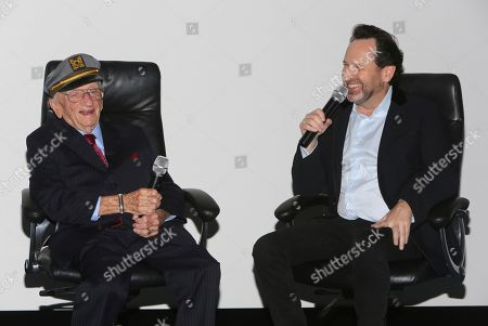"Stock Picture of Ben Ferencz, Barry Avrich. Ben Ferencz and director/writer Barry Avrich seen at a screening and Q&A of ""Prosecuting Evil"" at the Ross House, in Los Angeles"