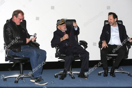 "Stock Photo of Pete Hammond, Ben Ferencz, Barry Avrich. Pete Hammond, Ben Ferencz and director/writer Barry Avrich seen at a screening and Q&A of ""Prosecuting Evil"" at the Ross House, in Los Angeles"