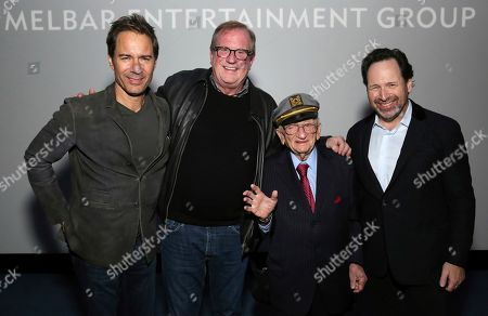 "Eric McCormack, Pete Hammond, Ben Ferencz, Barry Avrich. Eric McCormack, Pete Hammond, Ben Ferencz, and director/writer Barry Avrich seen at a screening and Q&A of ""Prosecuting Evil"" at the Ross House, in Los Angeles"