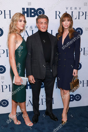 "Sistine Stallone, Sylvester Stallone, Jennifer Flavin. Sistine Stallone, Sylvester Stallone, and Jennifer Flavin attend the HBO premiere of ""Very Ralph"" at the Paley Center for Media on in Beverly Hills, Calif"
