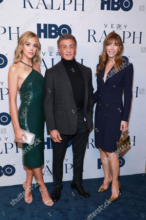 "Sistine Stallone, Sylvester Stallone, Jennifer Flavin. Sistine Stallone, on left, Sylvester Stallone, and Jennifer Flavin attend the HBO premiere of ""Very Ralph"" at the Paley Center for Media on in Beverly Hills, Calif"
